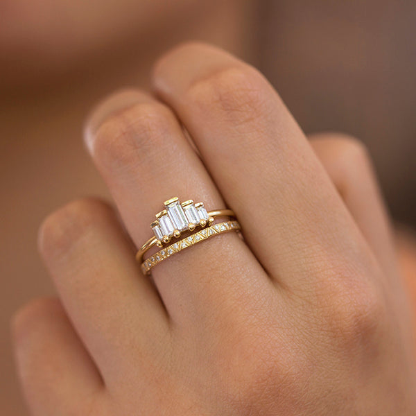Art Deco Engagement Ring Set With Baguette Cut Diamonds