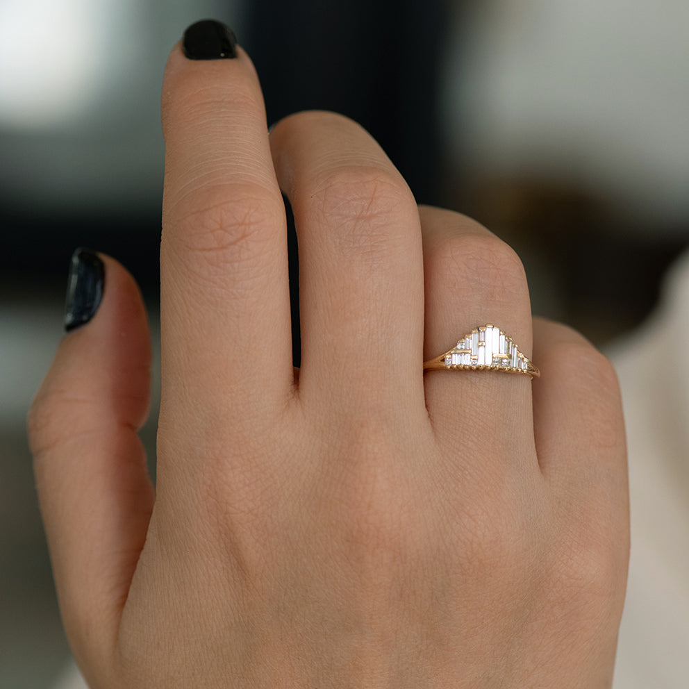 Art Deco Style Engagement Ring on Hand