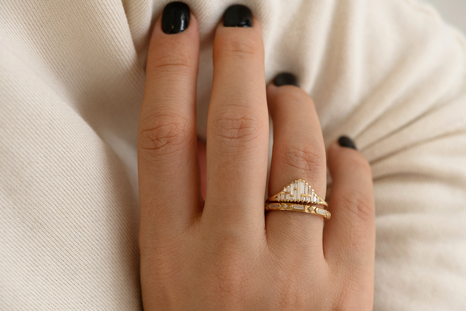 Art Deco Wedding Ring Set Front Shot on Hand