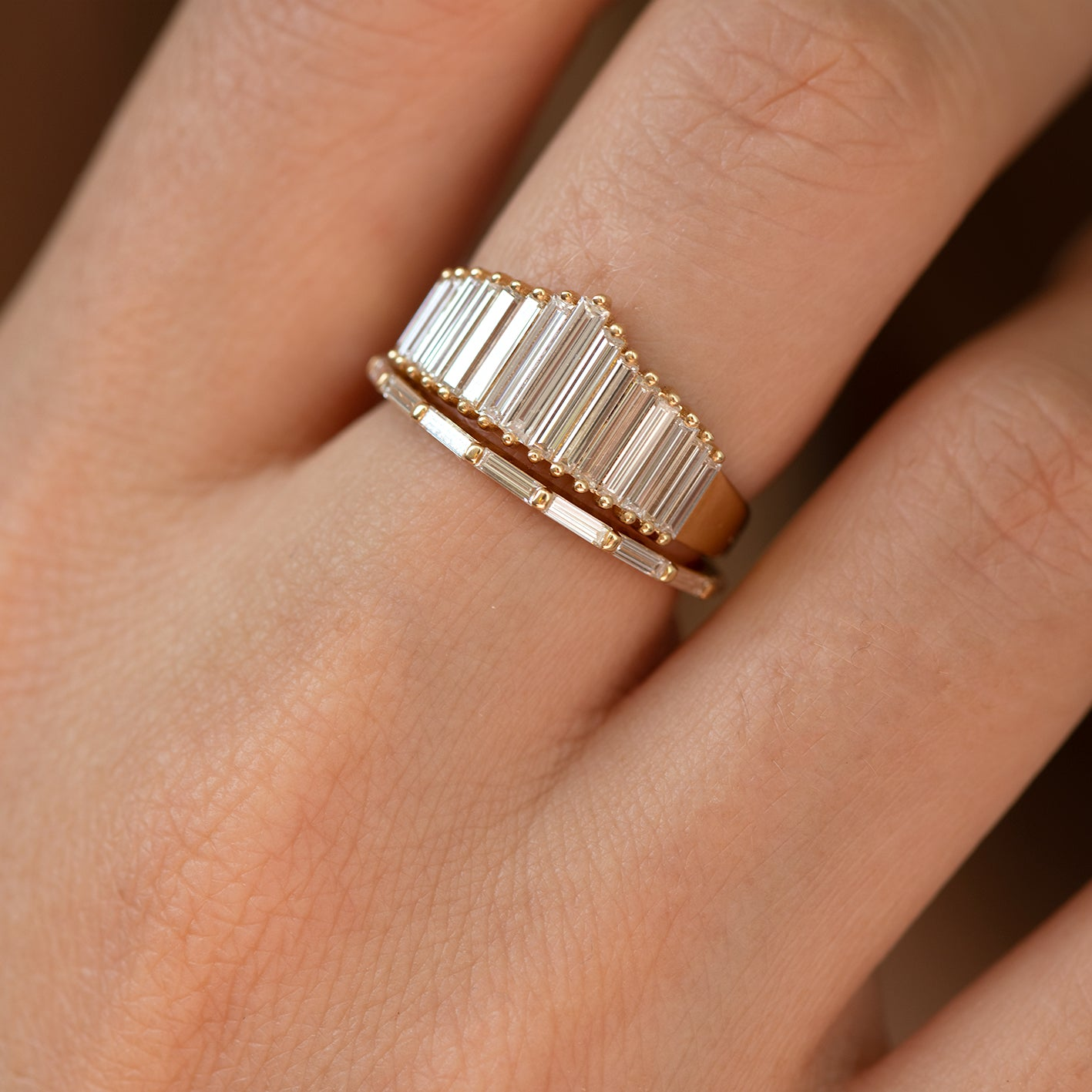 Art Deco Inspired Ring Set with Needle Baguette Diamonds1