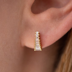 Art Deco Diamond Earrings on Ear up close detail shot