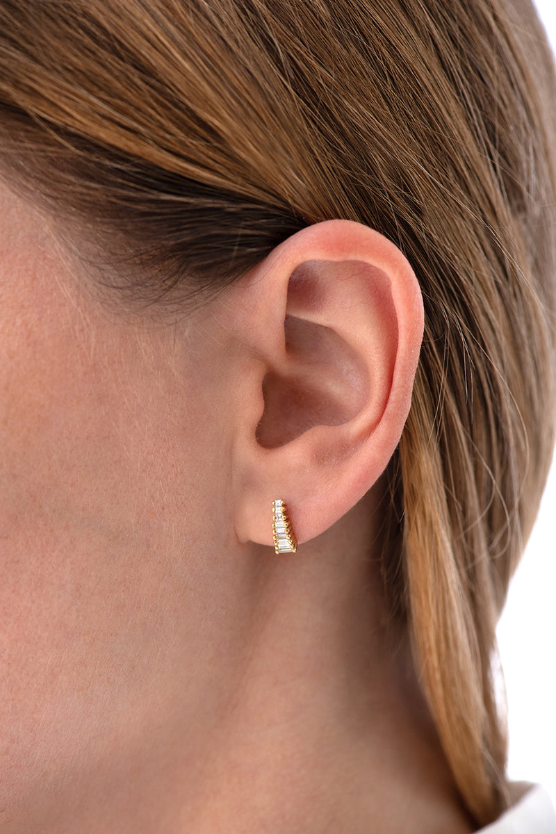 Art Deco Diamond Earrings on Ear side view