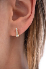 Art Deco Diamond Earrings on Ear up close front view