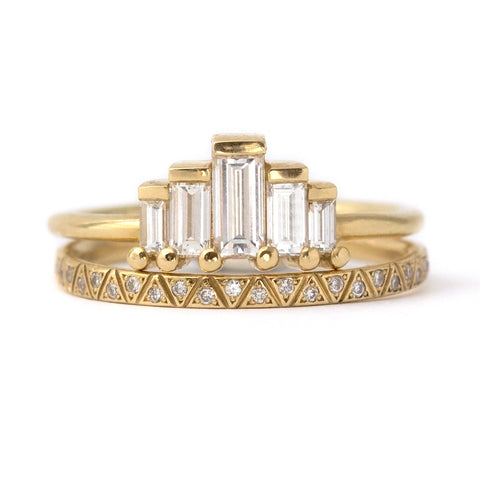 Art Deco Engagement Ring Set with Baguette Cut Diamonds Front View