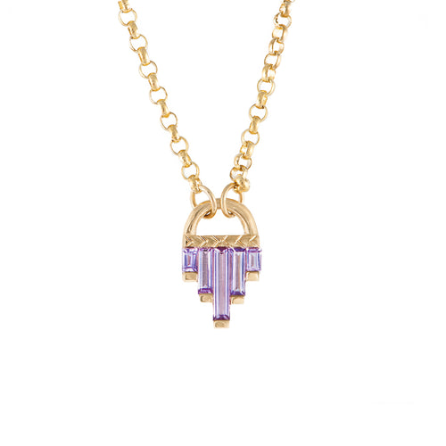 Art Deco Necklace with Lilac Sapphires