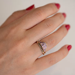Art Deco Sapphire Ring in Lilac on Hand front view in set