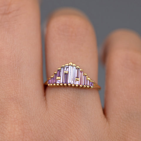 Art Deco Sapphire Ring in Lilac on Hand detail view