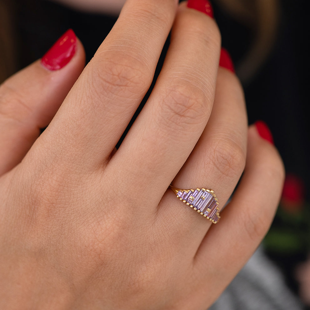 Art Deco Sapphire Ring in Lilac on Hand side angle