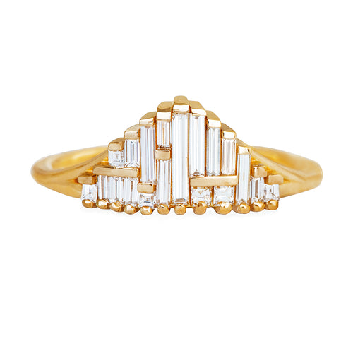 Art Deco Style Engagement Ring on White