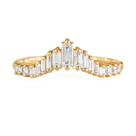 Art-Deco Hochzeit Ring - Tapered Baguette Diamond Ring Front View