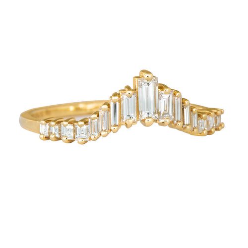 Art Deco Wedding Ring - Tapered Baguette Diamond Ring Side View