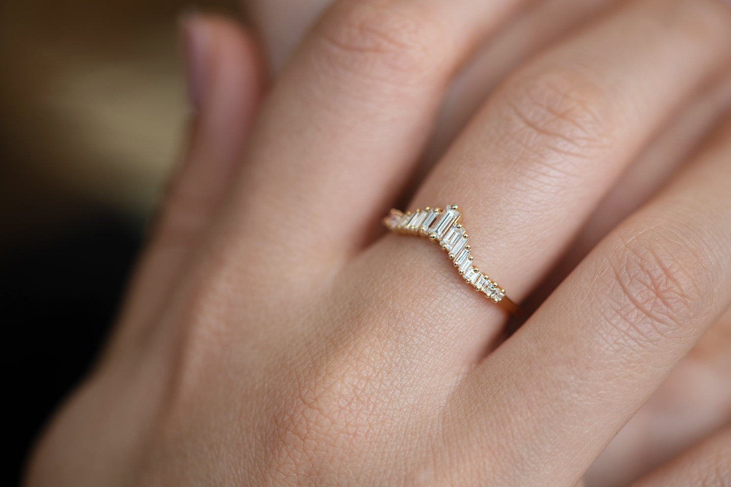 Art Deco Wedding Ring - Tapered Baguette Diamond Ring on Hand Side View