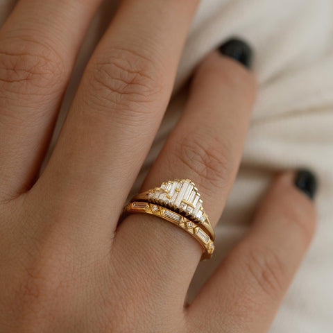 Art Deco Wedding Ring Set Up Close on Hand