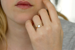 solid gold asymmetrical diamond engagement set