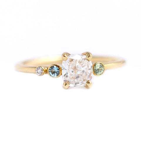 Asymmetric Diamond Cluster Engagement Ring with Aquamarine And Mint Garnet