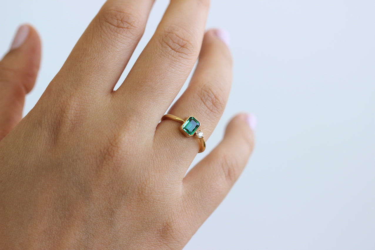 Asymmetric Emerald Ring