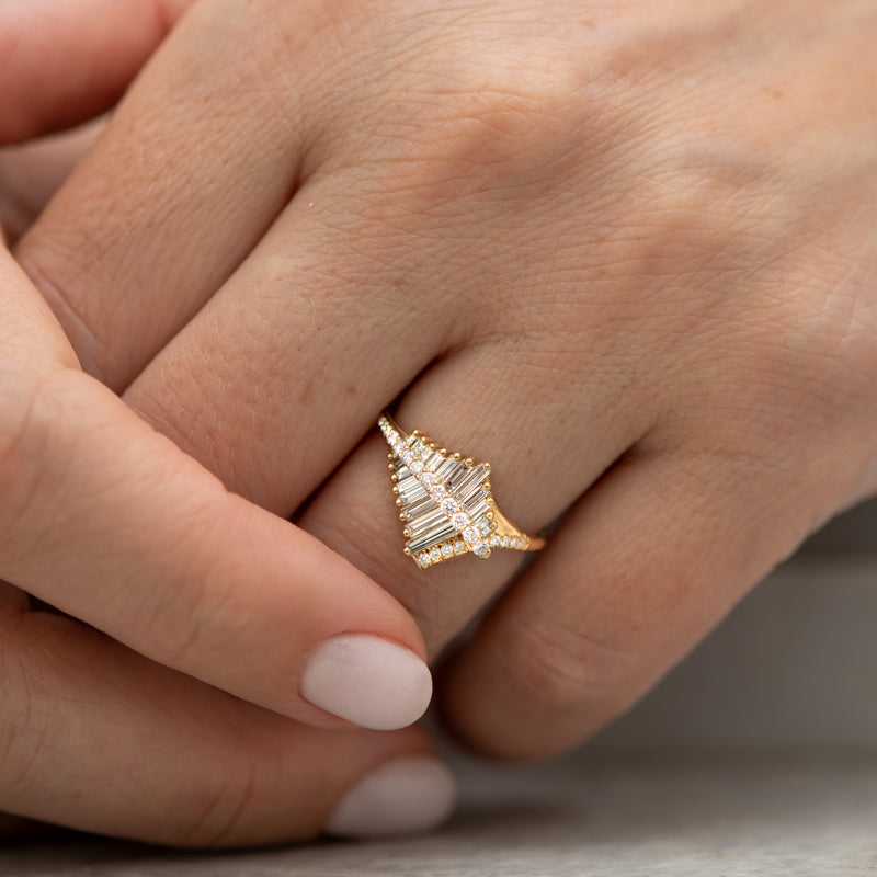 Asymmetrical-Baguette-Cluster-Ring-with-Round-Diamond-Beams-moment