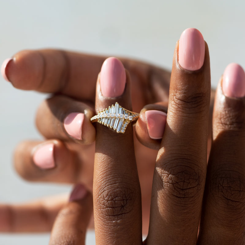 Asymmetrical-Baguette-Cluster-Ring-with-Round-Diamond-Beams-on-finger