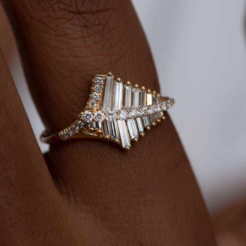 Asymmetrical-Baguette-Cluster-Ring-with-Round-Diamond-Beams-top-shot