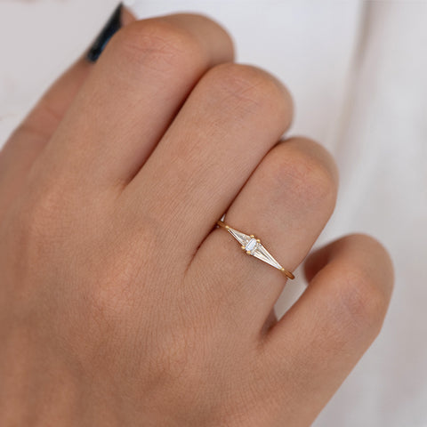 Asymmetrical Engagement Ring - Arrow Diamond Ring - OOAK front shot up close