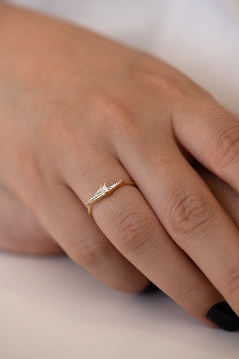 Asymmetrical Engagement Ring - Arrow Diamond Ring - OOAK on hand other angle of top