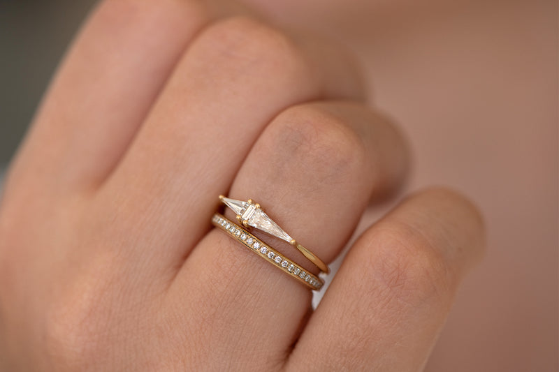 Asymmetrical Engagement Ring - Arrow Diamond Ring - OOAK detail view in set on hand