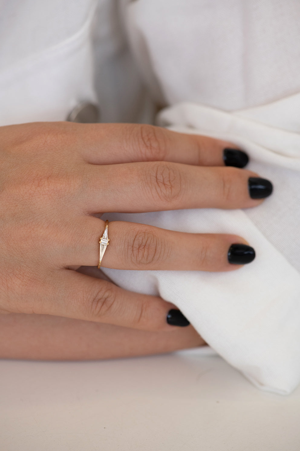 Asymmetrical Engagement Ring - Arrow Diamond Ring on Hand