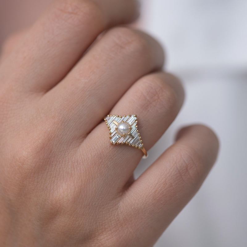 Star Diamond Engagement Ring with White Pearl up close