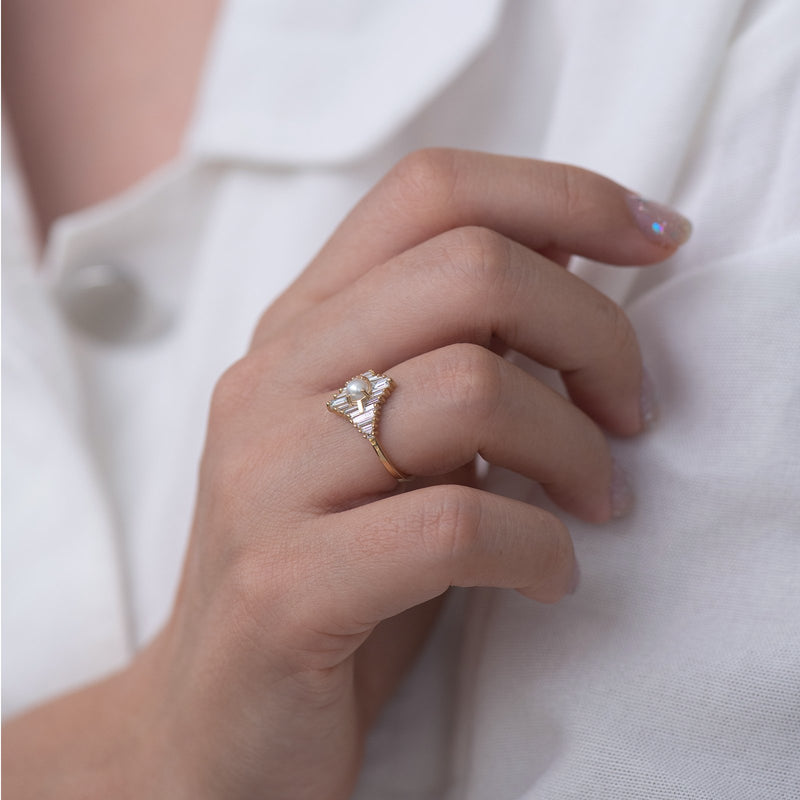 Star Diamond Engagement Ring with White Pearl closed hand