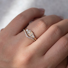 Half Moon Diamond Wedding Ring Set in shaddow