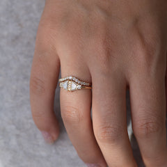 Half Moon Diamond Wedding Ring Set with light