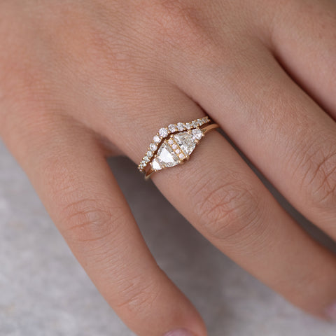 Half Moon Diamond Wedding Ring Set middle finger
