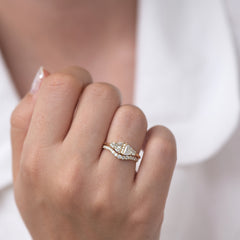 Half Moon Diamond Wedding Ring Set on hand with shirt