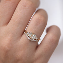 Half Moon Diamond Wedding Ring Set finger moved