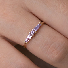 Lilac needle baguette ring