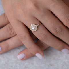 The Sun Temple Ring with Tapered Baguette Diamonds Halo5