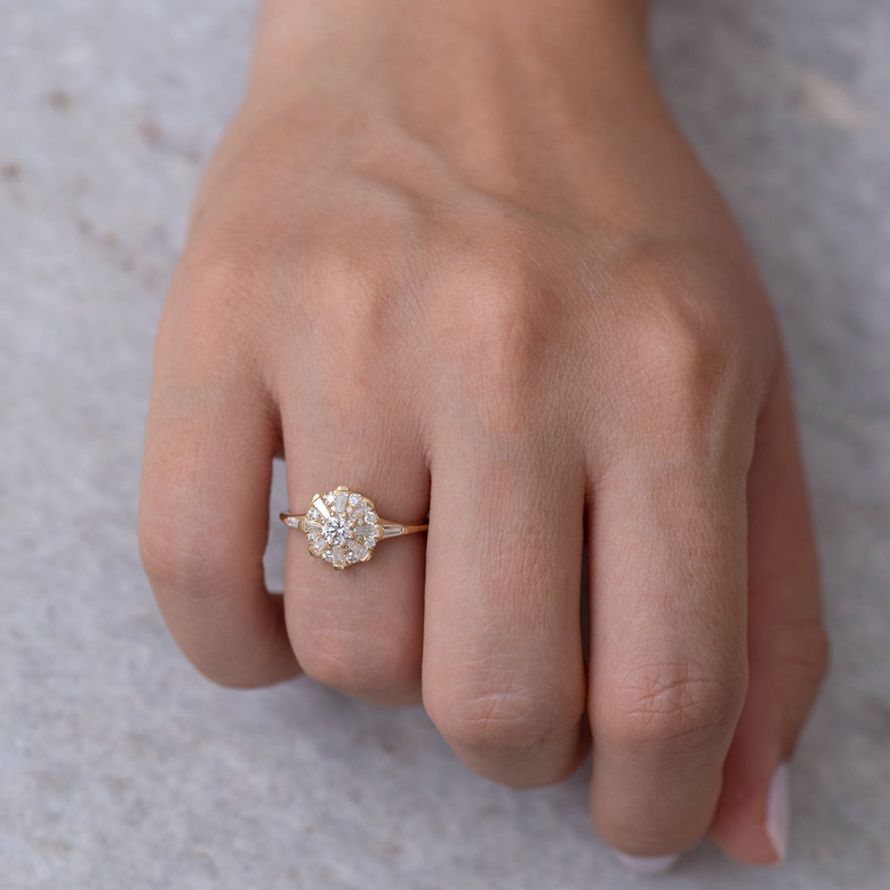 The Sun Temple Ring with Tapered Baguette Diamonds Halo6