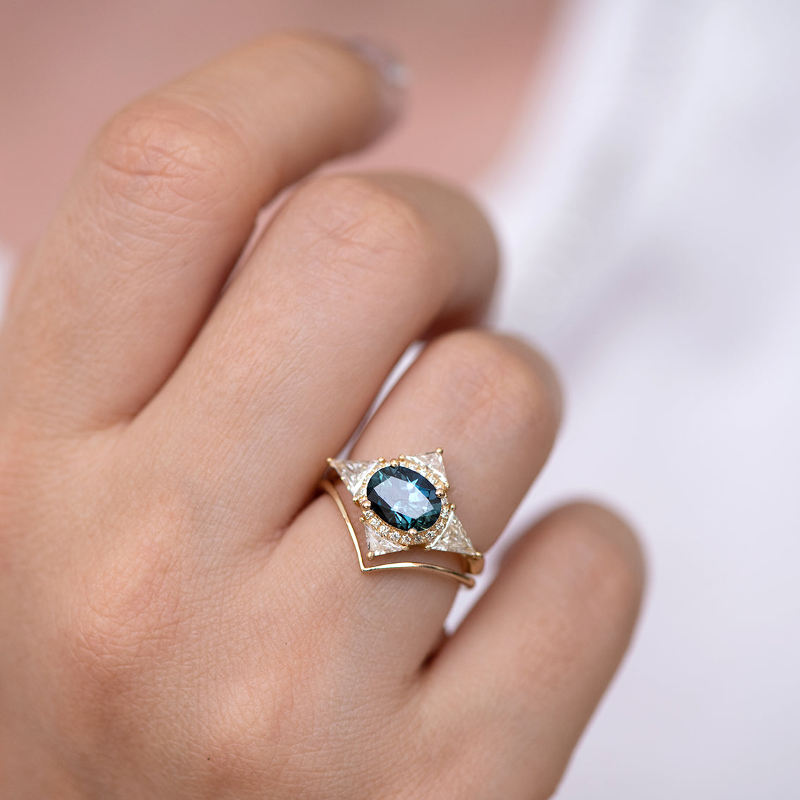 Teal Sapphire Deco Ring with Triangle Diamonds with band