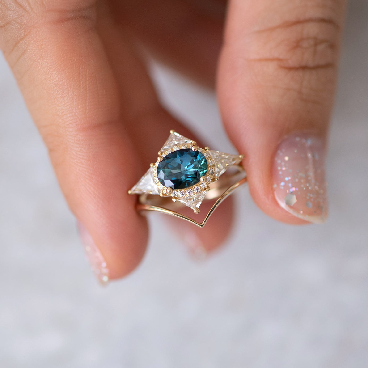 Teal Sapphire Deco Ring with Triangle Diamonds top view