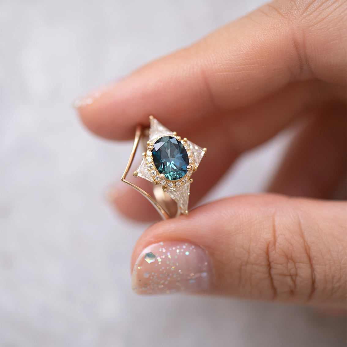 Teal Sapphire Deco Ring with Triangle Diamonds side view