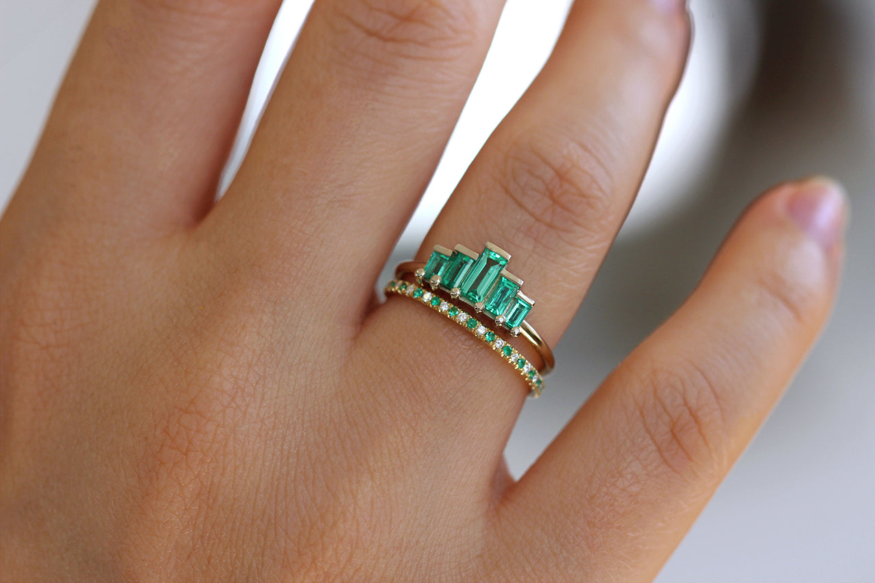 Baguette Cut Emeralds Engagement Ring In A Set