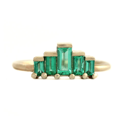 Baguette Cut Emeralds Engagement Ring