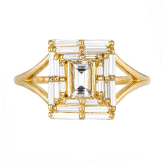 Baguette Cut Engagement Ring - Baguette Temple Ring