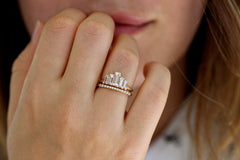 Baguette-Cut-Morganite-Engagement-Ring-In-A-Set-On-Finger