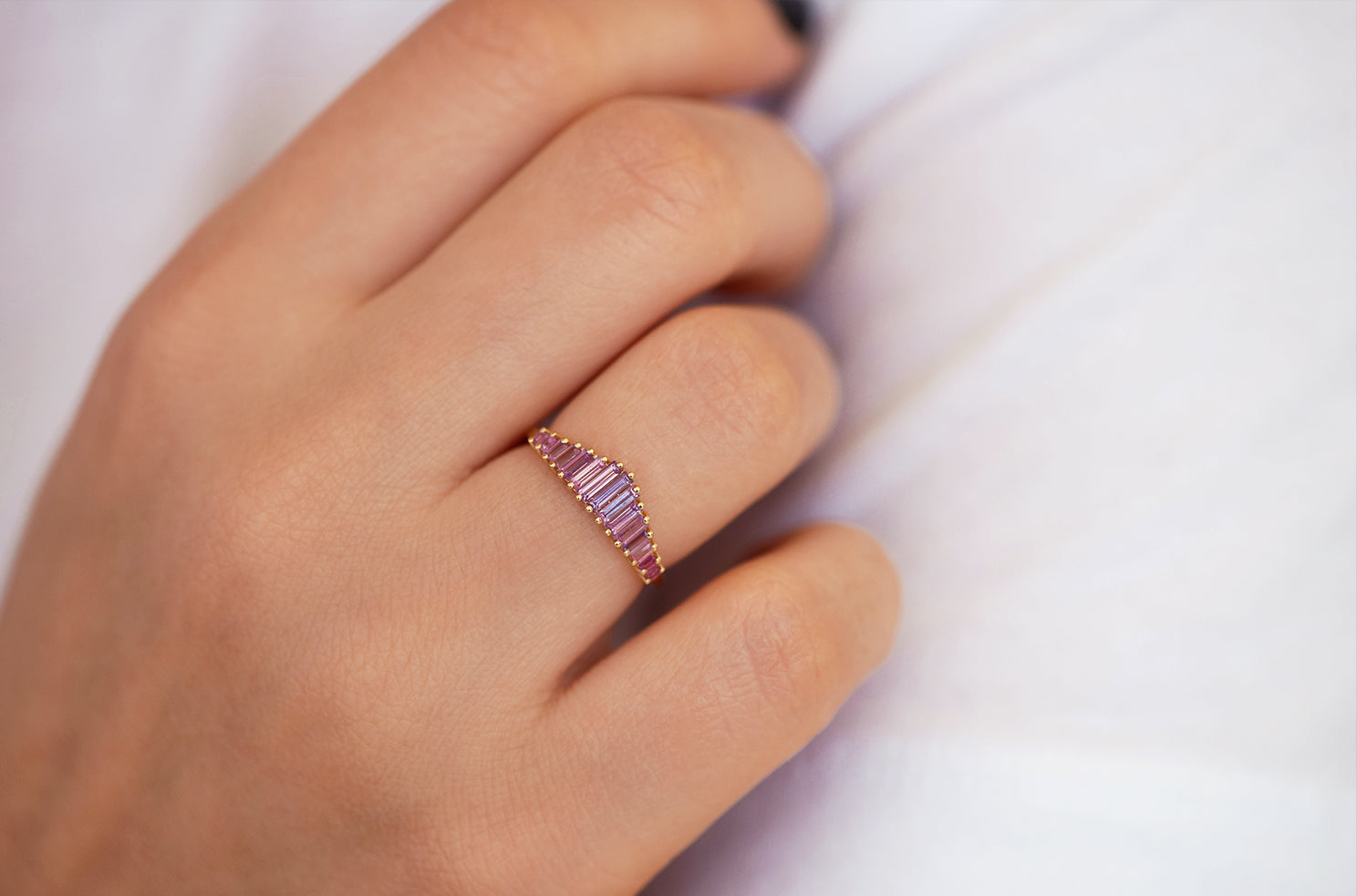 Baguette Cut Sapphire Ring - Purple and Lilac Engagement Ring on Hand