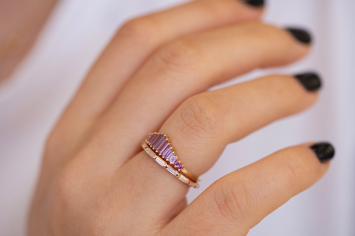 Baguette Cut Sapphire Ring - Purple and Lilac Engagement Ring in Set Alternate Angle