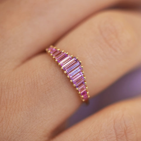 Baguette Cut Sapphire Ring - Purple and Lilac Engagement Ring Detail Shot