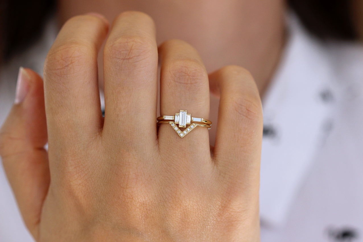 Baguette Diamond Cluster Engagement Ring With V Ring