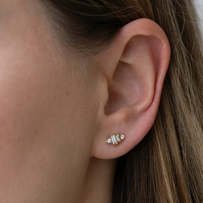 Baguette Diamond Earrings Detail Shot on Ear