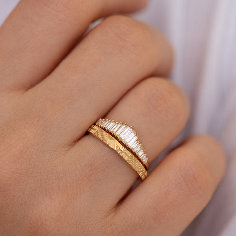Baguette Diamond Wedding Ring Set Detail Shot Up Close on Hand